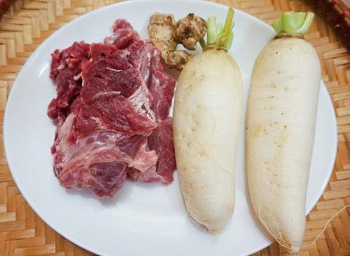 cháo thịt bò củ cải