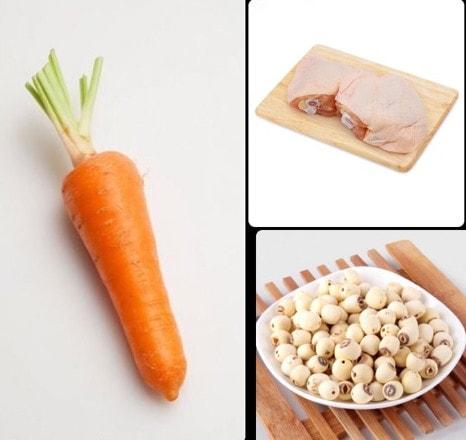 cháo gà cà rốt hạt sen