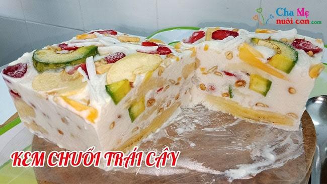 Cách làm kem chuối trái cây đơn giản